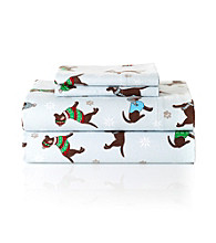 LivingQuarters Winter Dogs Heavy-Weight Flannel Sheet Sets