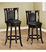Monarch Set of 2 Black & Cappuccino Swivel Barstools