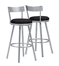 Monarch Set of 2 Silver Metal Swivel Barstools