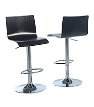 Monarch Set of 2 Black Bent Hydraulic Lift Barstools