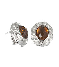 ARIVA Sterling Silver Ginger Quartz Bold Oval Earrings