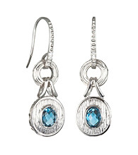 ARIVA Sterling Silver London Blue Topaz and Diamond Drop Earrings