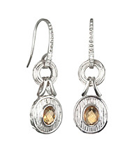 ARIVA Sterling Silver Citrine and Diamond Drop Earrings