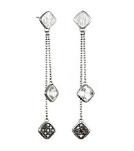 ARIVA Sterling Silver Diamond And Gemstone Cushions Drop Earring