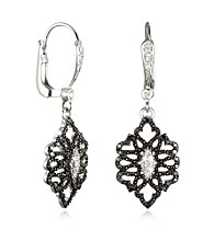 ARIVA Sterling Silver Leverback Earrings Set W/.38ct Diamond