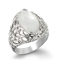 ARIVA Sterling Silver Mother of Pearl Silk Web Ring