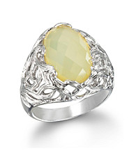 ARIVA Yellow Chalcedony Silk Web Sterling Silver Ring