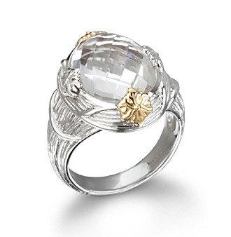 ARIVA Bold Oval Gemstone Sterling Silver and 18K Gold Ring
