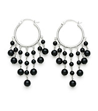 .925 Sterling Silver Onyx Earrings
