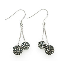 .925 Sterling Silver Gray Crystal Earrings