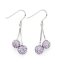 .925 Sterling Silver Purple Crystal Earrings