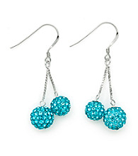 .925 Sterling Silver Blue Crystal Earrings