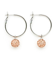 .925 Sterling Silver Copper Crystal Earrings
