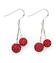 .925 Sterling Silver Red Crystal Earrings