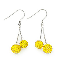 .925 Sterling Silver Yellow Crystal Earrings