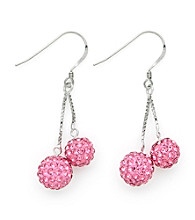 .925 Sterling Silver Pink Crystal Earrings