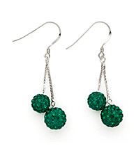 .925 Sterling Silver Green Crystal Earrings