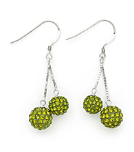 .925 Sterling Silver Light Green Crystal Earrings