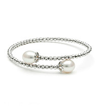 .925 Sterling Silver Fresh Water Pearl Crystal Bracelet
