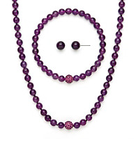 .925 Sterling Silver & Amethyst Necklace, Earring & Bracelet Set