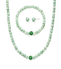 .925 Sterling Silver & Jade Necklace, Earring & Bracelet Set