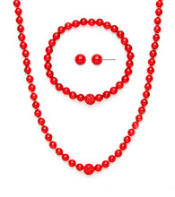 .925 Sterling Silver & Coral Necklace, Earring & Bracelet Set