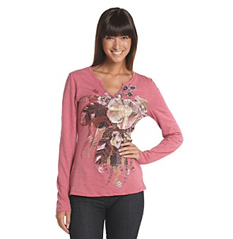 Nine West Vintage America Collection® Floral Printed Henley