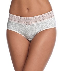 Relativity® Cotton/Spandex Lace Waist Hipster - Grey Leopard