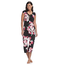 Linea Donatella® Keiko Bouquet Pajama Set - Black Multi