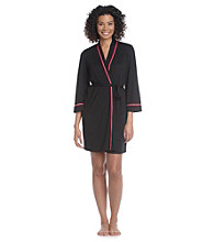 Linea Donatella® Knit Wrap Robe - Black