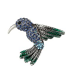 Napier® Silvertone and Blue Enamel Hummingbird Pin