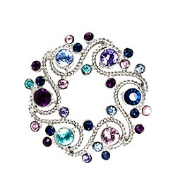 Napier® Silvertone Wreath Pin with Multi Colored Purple and Blue Simulated Stones