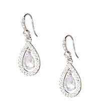 Carolee® Silvertone Pave Crystal Teardrop Earrings