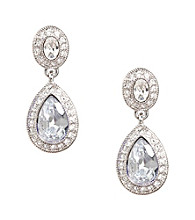 Carolee® Silvertone Pave Stone Drop Earrings