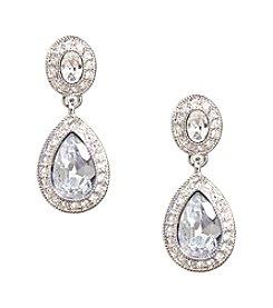 Carolee® Silvertone Pave Stone Drop Earrings