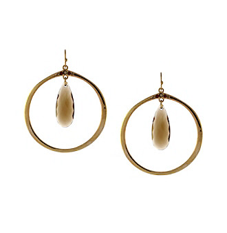 Jessica Simpson Textured Stone and Hoop Earrings