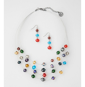Erica Lyons® Multi Short Illusion Necklace and Earring Set
