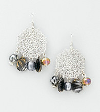 Erica Lyons® Silvertone/Grey Drop Pierced Earrings