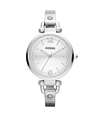 Fossil® Silver Georgia Stainless Steel Watch