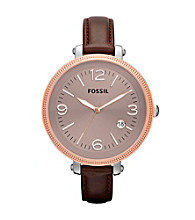 Fossil® Brown & Rose Goldtone Heather Leather Watch - Dark Brown
