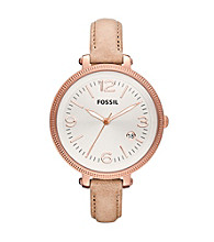 Fossil® Sand & Rose Goldtone Heather Leather Watch