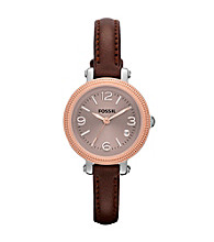 Fossil® Dark Brown & Rose Goldtone Heather Mini Leather Watch