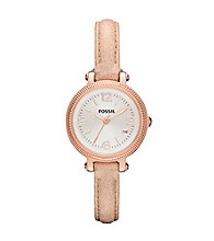 Fossil® Sand & Rose Goldtone Heather Mini Leather Watch