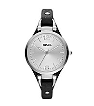 Fossil® Black and Silver Georgia Leather Watch - Black