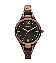 Fossil® Brown Georgia Leather Watch