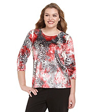 Laura Ashley® Plus Size Velvet Sublimation Top