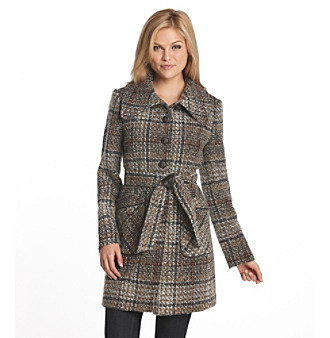 DKNY® Tweed Trench Coat