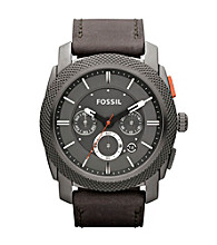 Fossil® Grey Machine Leather Watch