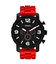 Fossil® Nate Red Silicone Watch