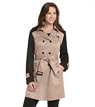 Nine West® Double Breasted Belted Colorblocked Raincoat
